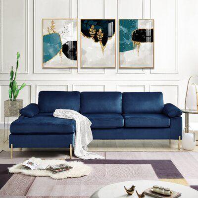 """Amealia 101"""" Wide Velvet Reversible Sofa & Chaise"""