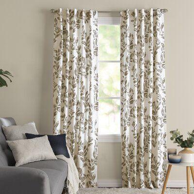 Sam Floral Room Darkening Thermal Rod Pocket Single Curtain Panel