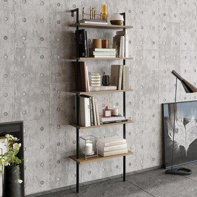 """Innis 68.5"""" H x 23.6"""" W Ladder Bookcase"""