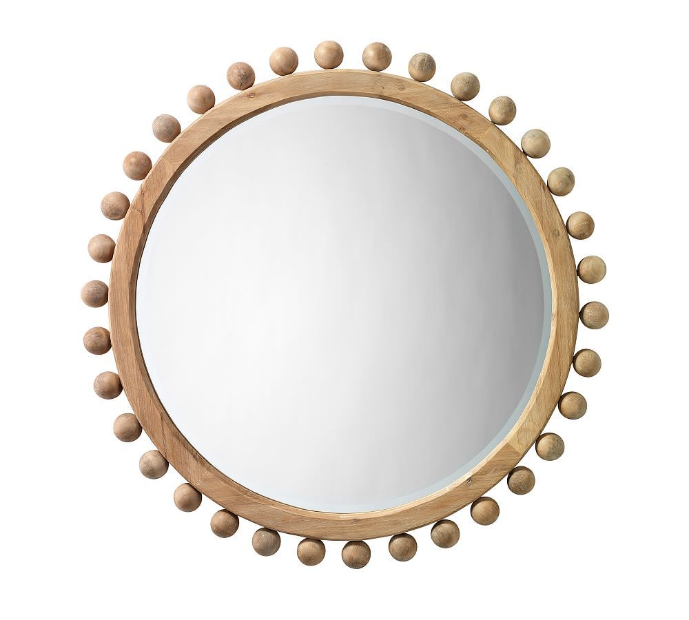 """Pacific Wooden Wall Mirror, 36"""", Round"""
