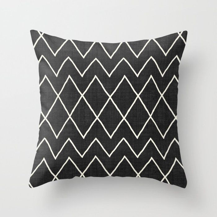 """Avoca In Black And White Couch Throw Pillow by Becky Bailey - Cover (18"""" x 18"""") with pillow insert - Outdoor Pillow"""