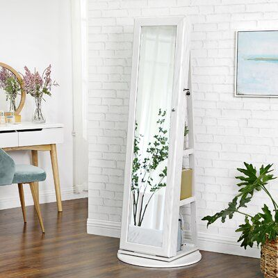 Quakertown 360° Rotatable Freestanding Jewelry Armoire with Mirror