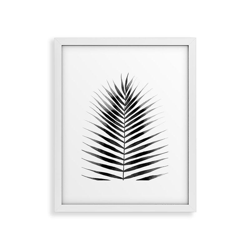 "Framed Art Print Modern White, Palm Leaf Watercolor Black And White, 16"" x 20"""