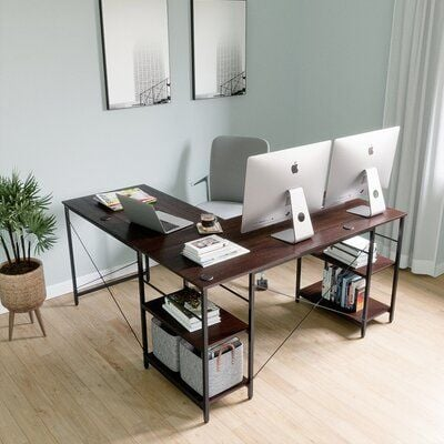 17 Stories L-Shaped Home Office Computer Desk Build-In Cable Holes Packaged With Wood Monitor Stand Riser