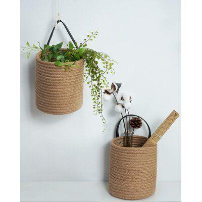 "2Pack Jute Hanging Basket - 7.87"" X 7"" Small Woven Fern Hanging Rope Basket Flower Plants Wall Basket Decor Set Boho"