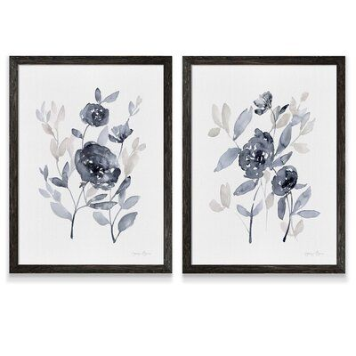 'Peonies in Gray I' by Vincent Van Gogh - 2 Piece Picture Frame Painting Print Set
