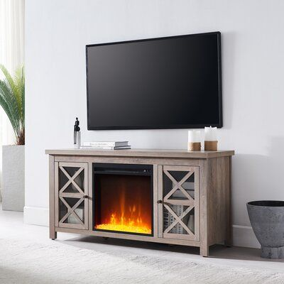"""Baba TV Stand for TVs up to 50"""" with Electric Fireplace Included"""