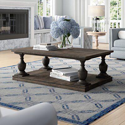 Shameka Solid Wood Floor Shelf Coffee Table with Storage