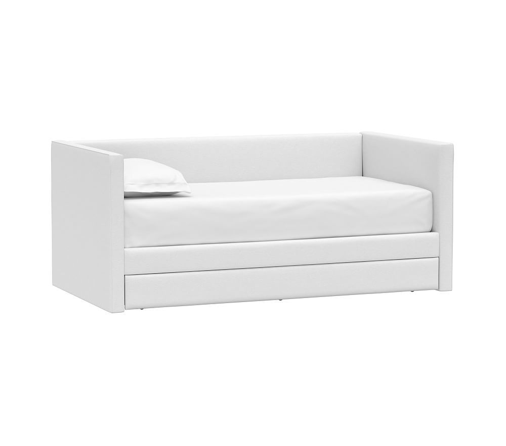 Carter Square Daybed Bed w/ Trundle, Twin, Performance Slubby Chenille, White
