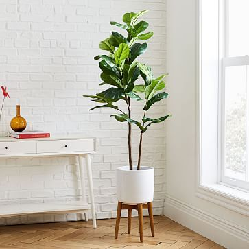 Faux Fiddle Leaf Fig Botanical + Turned Wood White Planter, Tall