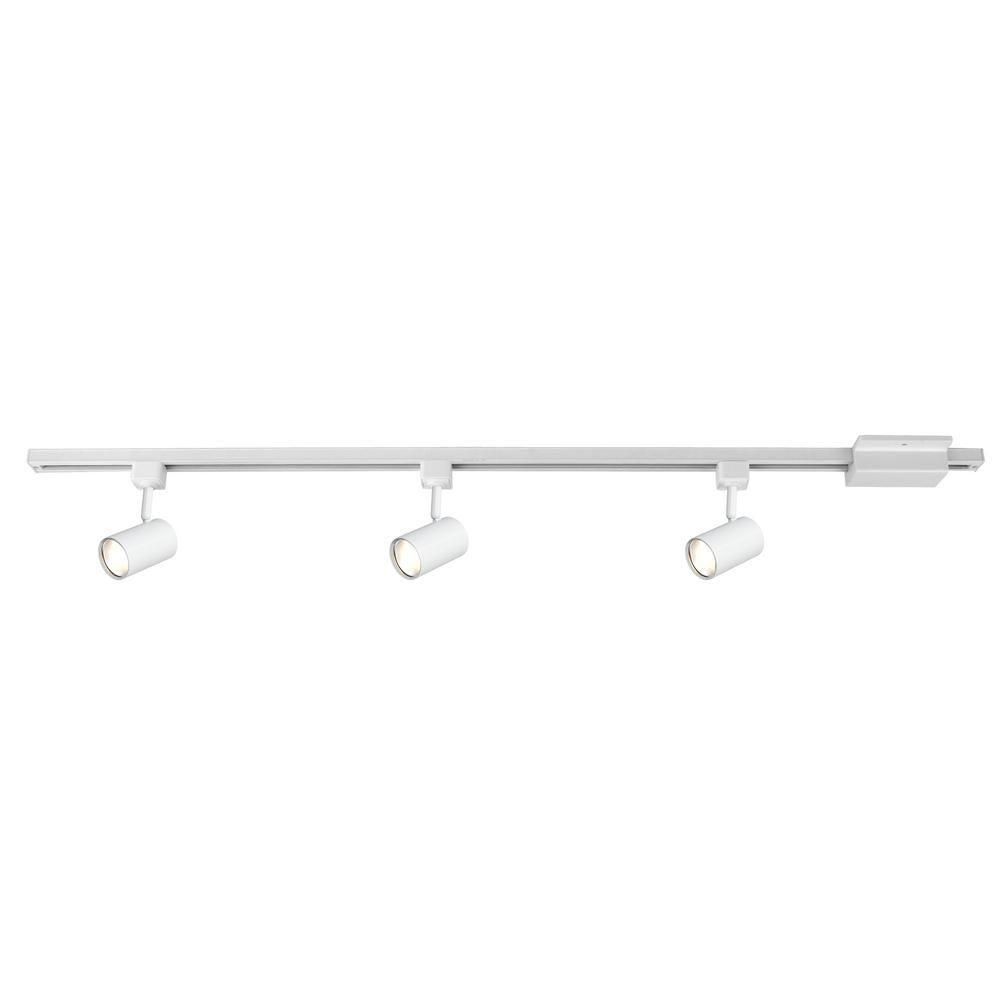 Hampton Bay 4-ft. 3-Light White LED Linear Track Lighting Kit with Mini Cylinder Step Heads