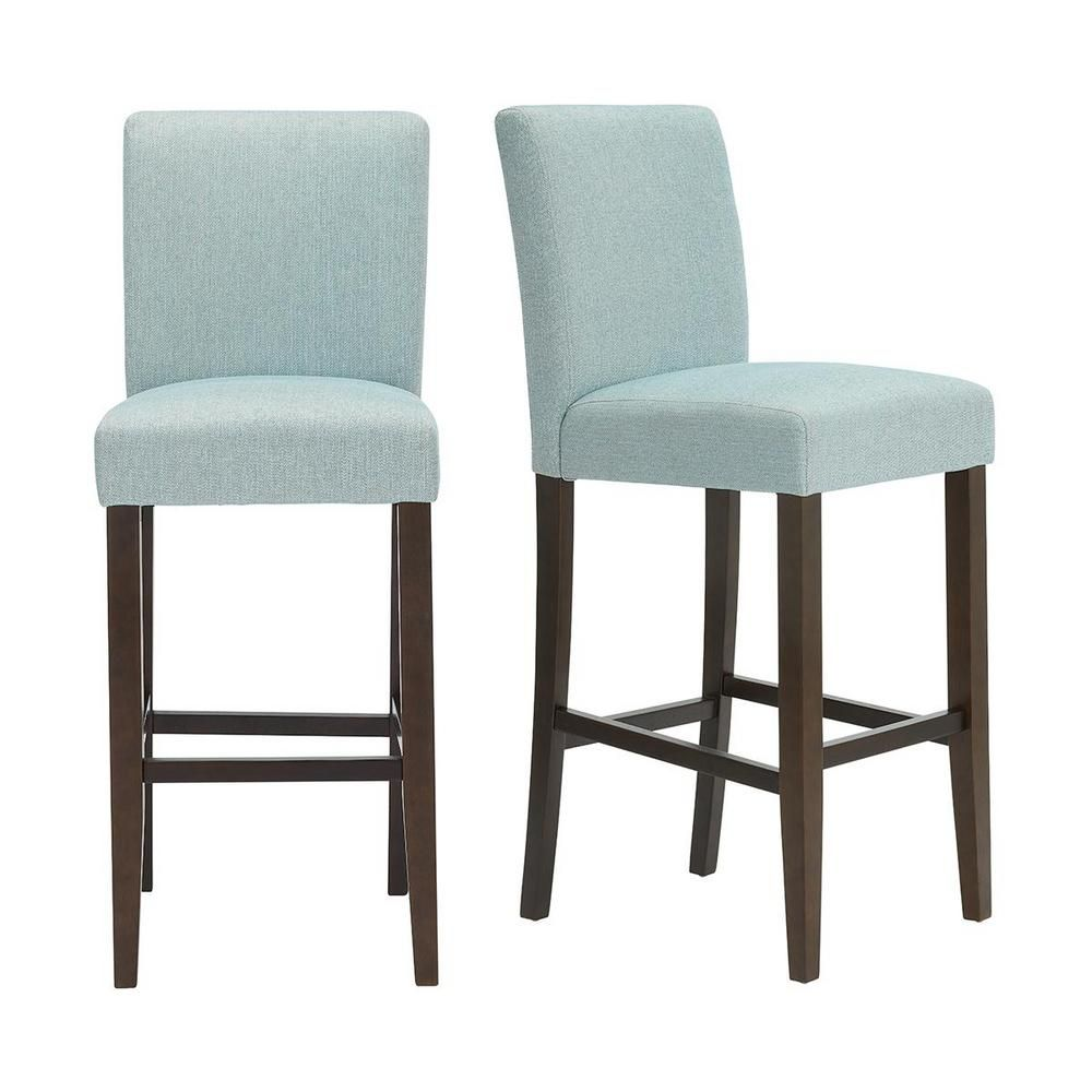 StyleWell Banford Sable Brown Wood Upholstered Bar Stool with Back and Charleston Teal Seat (Set of 2) (17.51 in. W x 44.29 in. H), Charleston/Sable