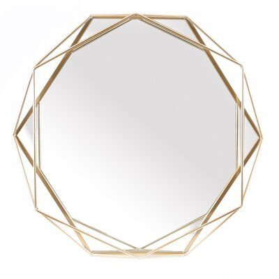 Metal Octogonal Gold Frame Wall Mirror