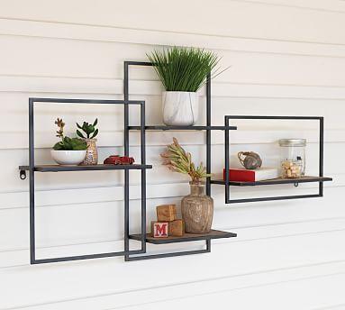 "Tucker Wood & Metal Wall Shelf, 40.5"" x 6"" x 21"""