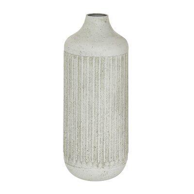 White Metal Contemporary Style Vase, 17 X 7 X 7