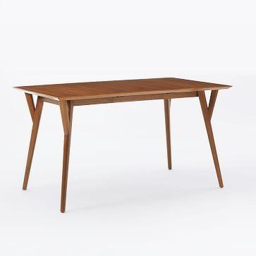 "Mid-Century Expandable Dining Table, 39-55"", Walnut"