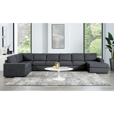 """Milano 172.5"""" Wide Square Arm Modular Large Size Sofa & Chaise Sectional"""