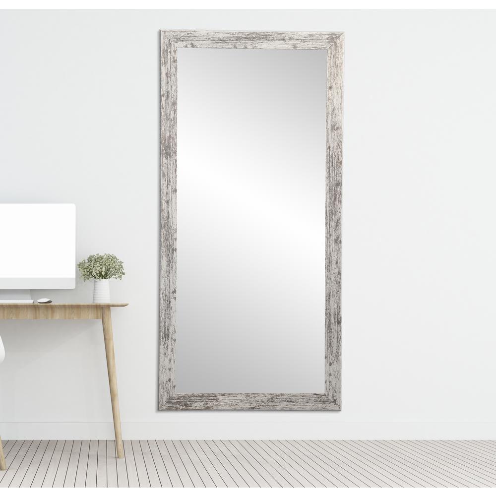 Brandtworks Distressed Rectangle White Floor Mirror