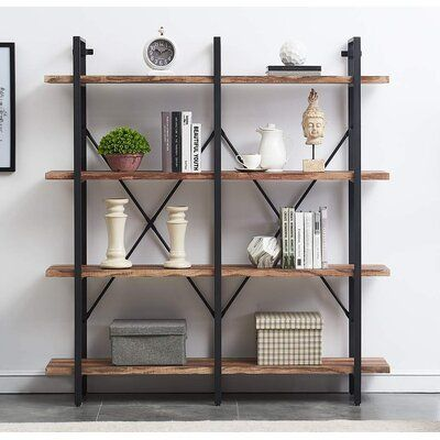 Bookshelf, Double Wide 4-tier Open Bookcase Vintage Industrial Large Shelves, Wood And Metal Etagere Bookshelves, For Home Decor Display, Office Furniture