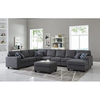 """Yateley 149.5"""" Left Hand Facing Modular Sectional with Ottoman"""