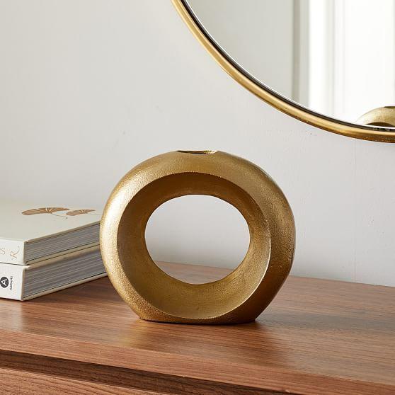 Metal Pebble Vase, Brass, Loops