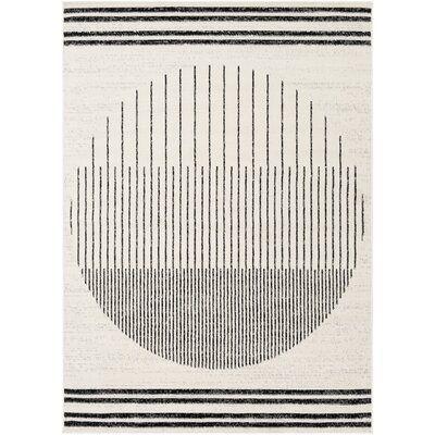 Riordan Striped Black/Ivory Area Rug
