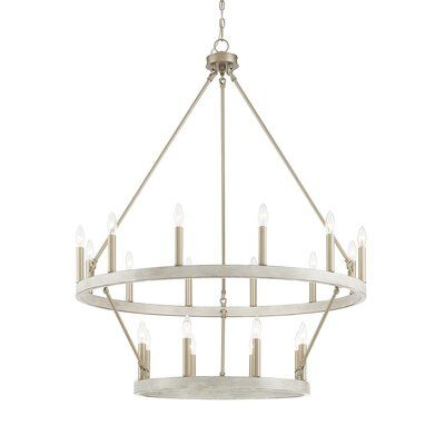 Claghorn 20 - Light Candle Style Wagon Wheel Chandelier with Wood Accents