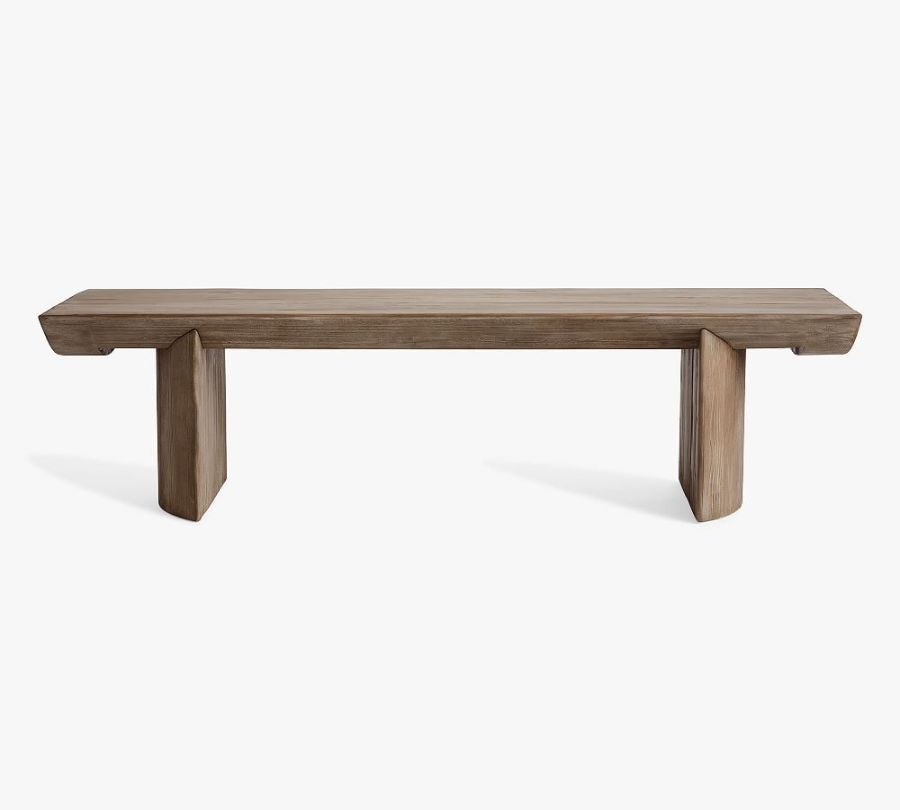 """Pismo 65"""" Reclaimed Wood Coffee Table, Rustic Light Gray"""