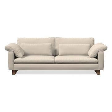 """Harmony 92"""" Sofa, Down Blend, Performance Washed Canvas, Natural, Walnut"""