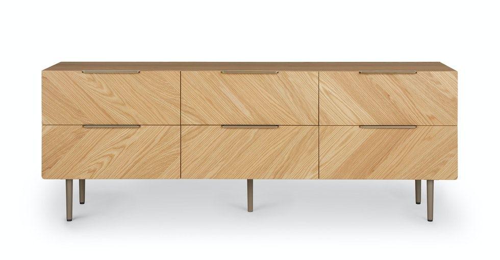 Nera Oak 6 Drawer Low Double Dresser