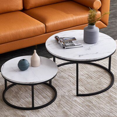 Modern Style Nesting Coffee Table Tea Table Black Metal Frame With Marble Color Top