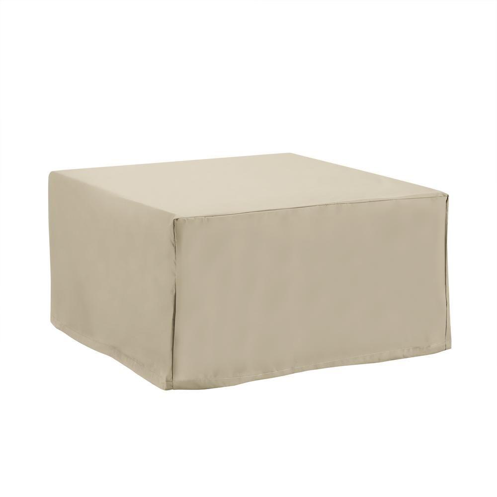 CROSLEY FURNITURE Tan Square Outdoor Table and Ottoman Furniture Cover