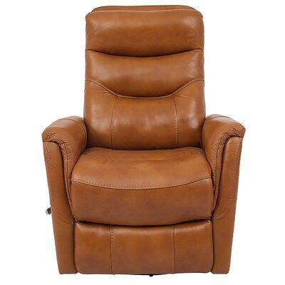 """Unruh Leather 20.5"""" Manual Swivel Glider Recliner"""