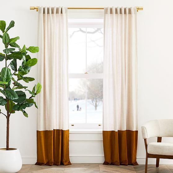 "European Flax Linen & Luster Velvet Curtain, Natural & Golden Oak, 48""x84"""