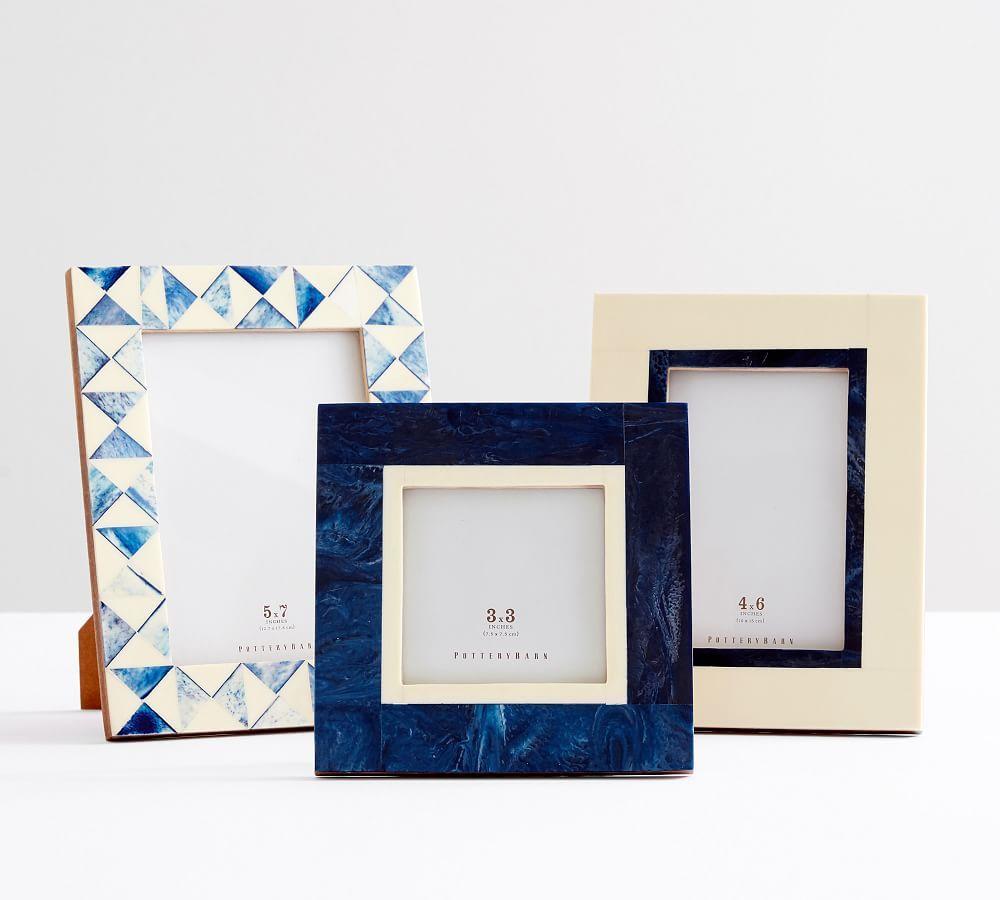 Eclectic Bone Frames, Navy/Ivory, Set of 3
