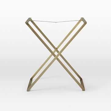 Butler Tray Stand, Tall, Shiny Brass
