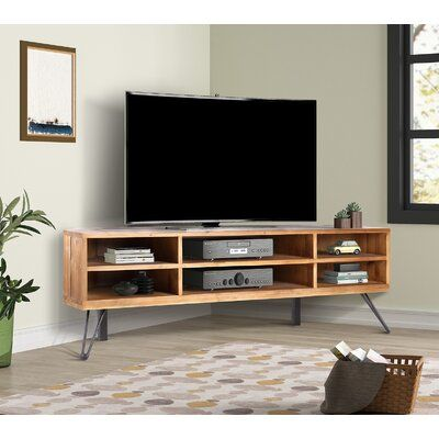 """Foundry Select Antonetta Solid Wood Corner TV Stand for TVs up to 52"""""""