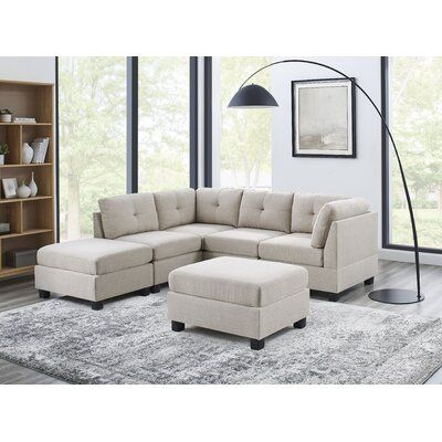 """Aelber 92"""" Wide Reversible Modular Sofa & Chaise Sectional with Ottoman"""
