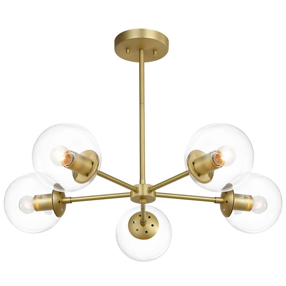 Light Society Grammercy 5-Light Brass/Clear in Chandelier
