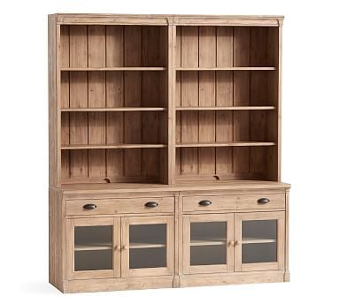 Lucca Wall Suite with Glass Cabinets, Salvaged Pine