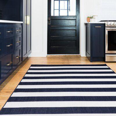 Perine Navy Blue Striped Indoor/Outdoor Area Rug