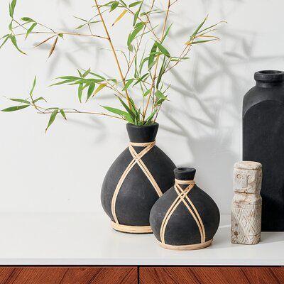 2 Piece Terracotta Matte Finish Vase Set W/ Raffia Wrap Detail