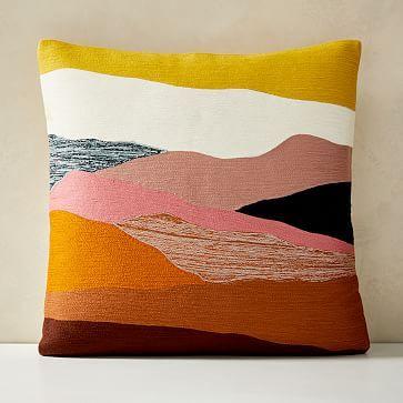 """Crewel Landscape Pillow Cover, 20""""x20"""", Desert Sunset"""