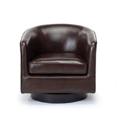 "Cathy 28.5"" W Top Grain Leather Swivel Barrel Chair"