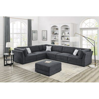 """Bellwether 152"""" Reversible Modular Sectional with Ottoman"""