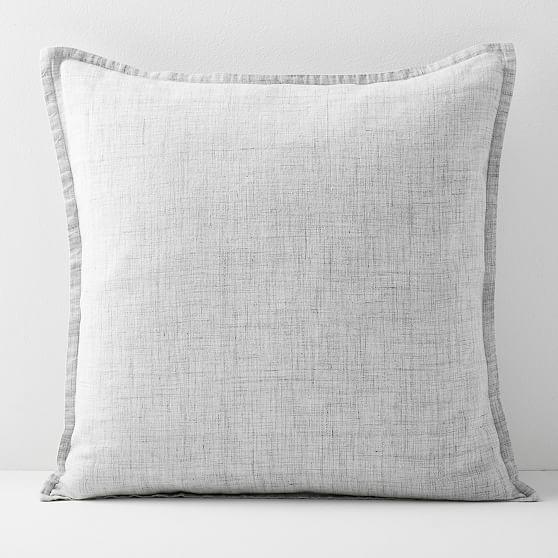 """European Flax Linen Pillow Cover, 20""""x20"""", Frost Gray Fiber Dye"""