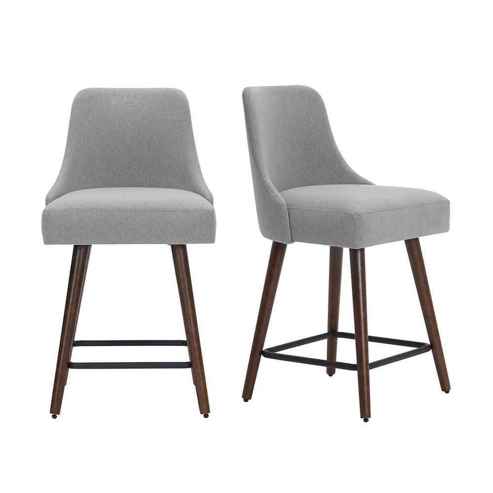 StyleWell Benfield Brown Wood Upholstered Counter Stool with Back and Stone Gray Seat (Set of 2) (19.48 in. W x 36 in. H), Stone Gray/Sable