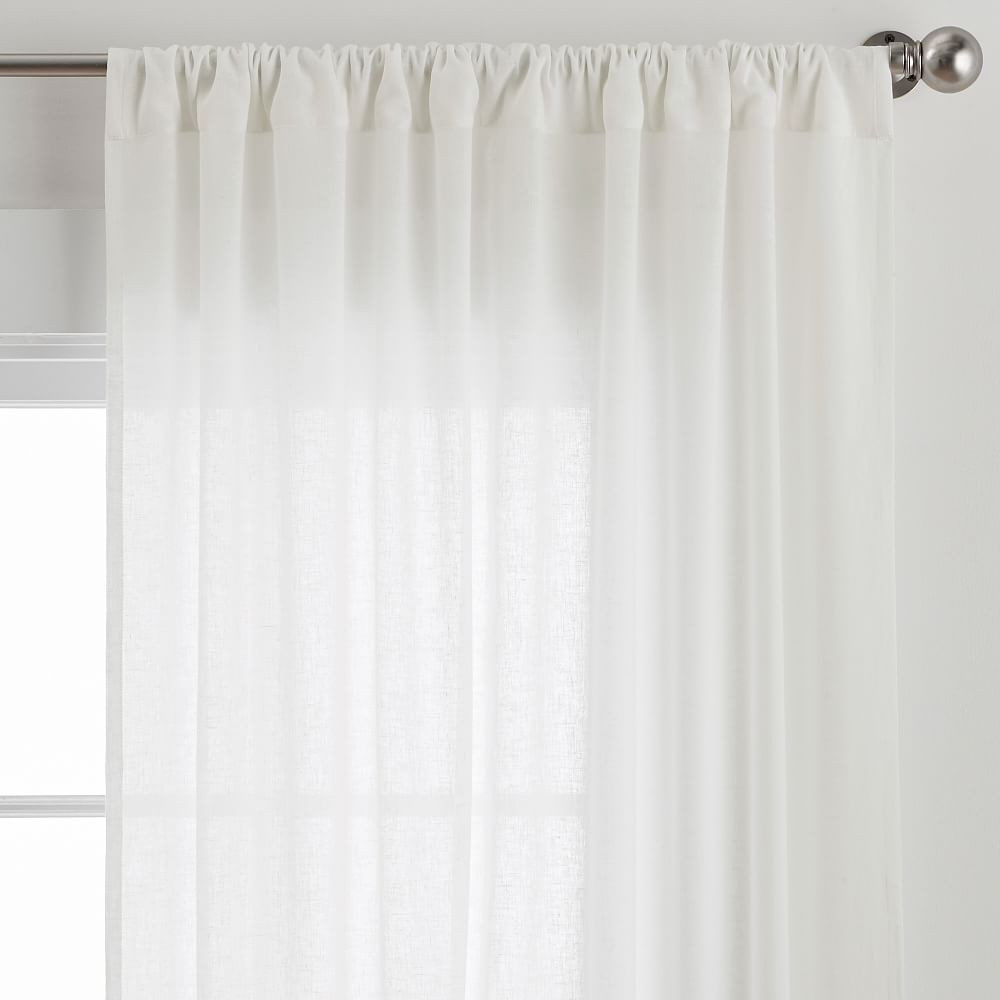 "Cotton Linen Sheer Curtain, White, 44"" x 96"""