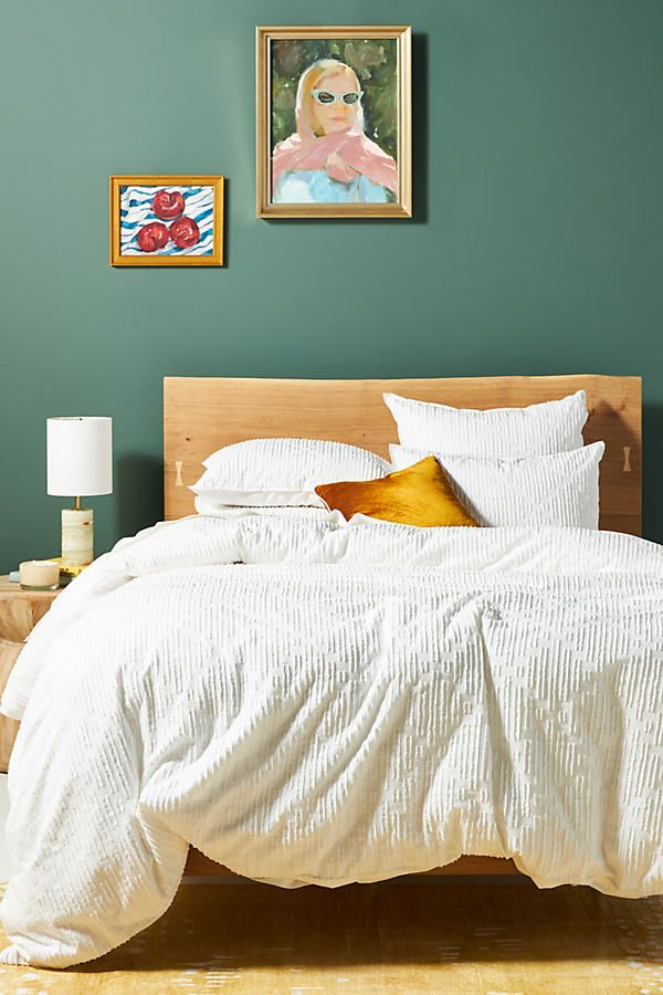 Queen Clipped Jacquard Duvet Cover By Anthropologie in White Size TW TOP/BED