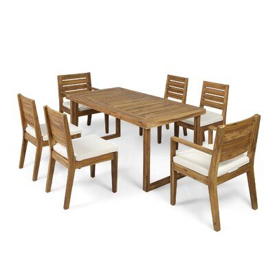Denholme 7 Piece Dining Set with Cushions